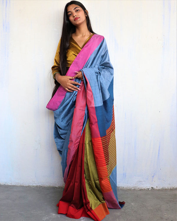 Blue-Red Handwoven Cotton Saree -HOLI