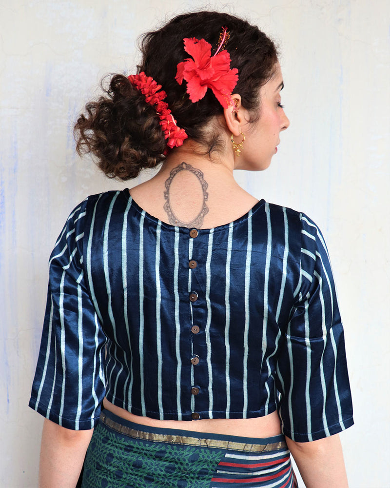 BLUE BLOCK PRINTED CROP TOP BLOUSE IN MASHRU SILK - HIBISCUS