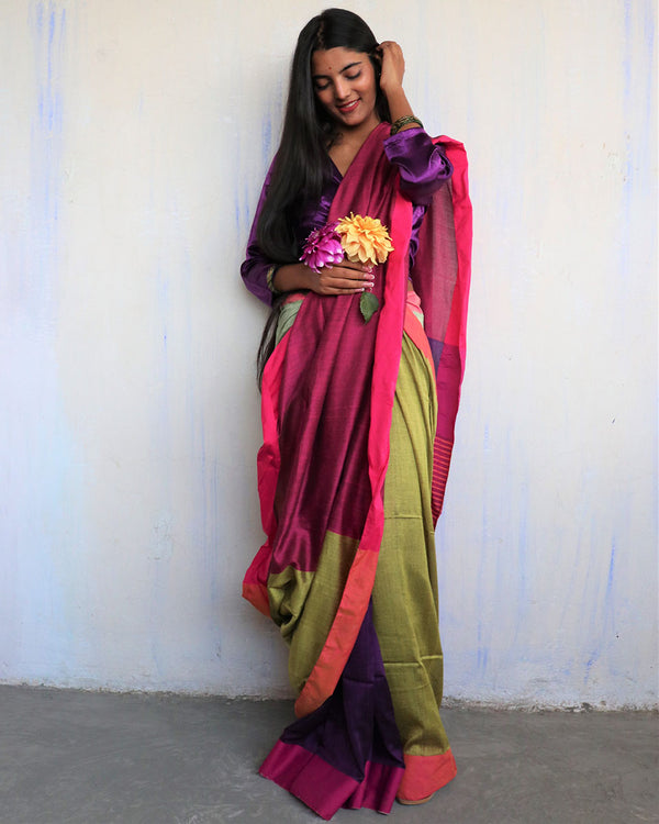 Rani-Purple Handwoven Cotton Saree -HOLI