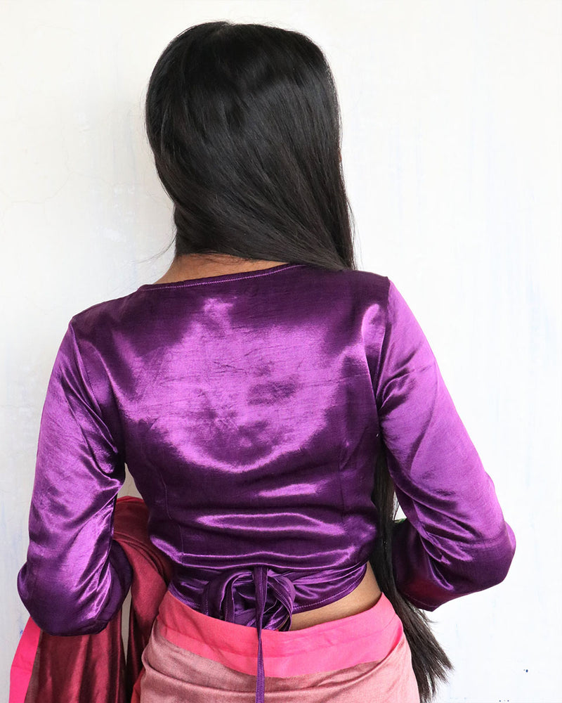 Purple Tie-up Mashru Silk Blouse - Sahar