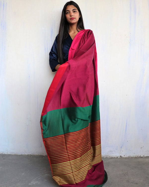 Rani-Green Handwoven Cotton Saree -HOLI