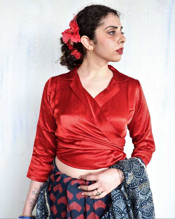 RED BLOCK PRINTED CROP TOP BLOUSE IN MASHRU SILK-HIBISCUS