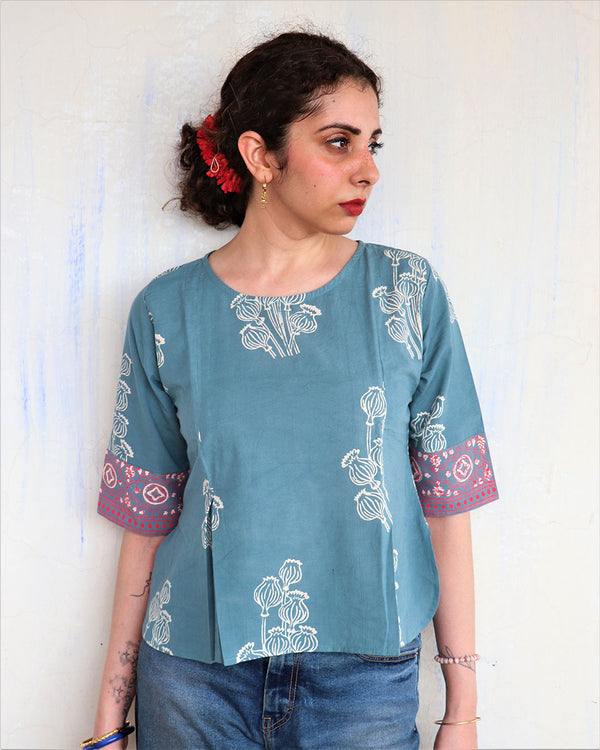 STEEL BLUE BLOCK PRINTED  BLOUSE