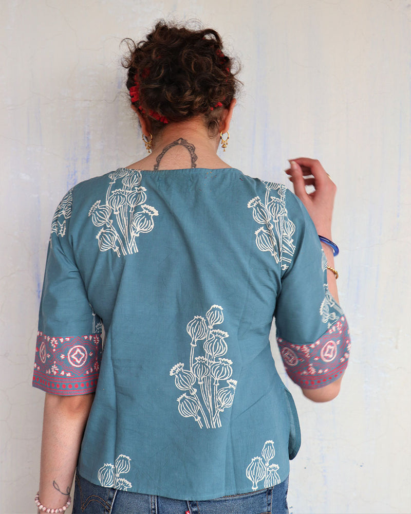 STEEL BLUE BLOCK PRINTED COTTON BLOUSE