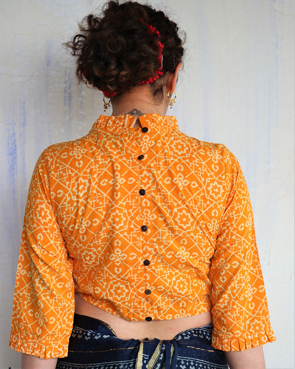 YELLOW BLOCK PRINTED CROP TOP BLOUSE