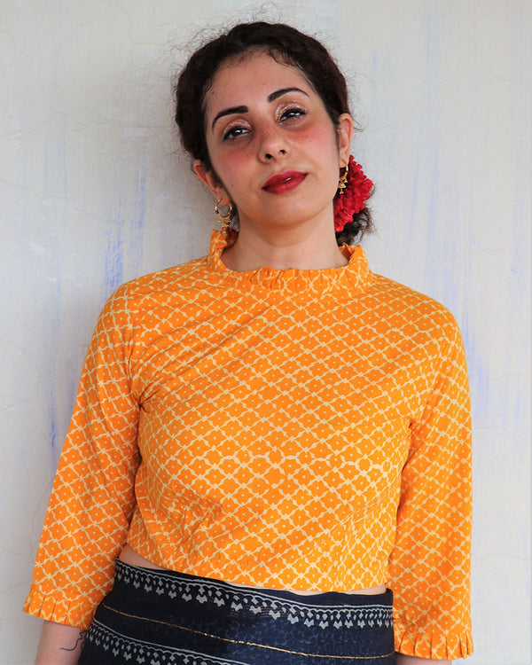 YELLOW BLOCK PRINTED COTTON CROP TOP BLOUSE
