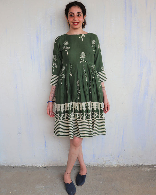 Green blockprinted cotton silk dress