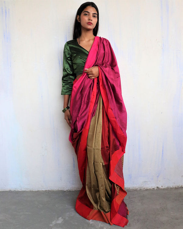 Maroon-Olive Handwoven Cotton Saree -HOLI