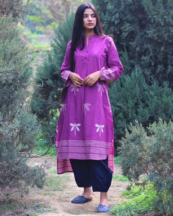 Purple Dragonfly Handprinted Pure Cotton Kurti Set of 2 - Slow