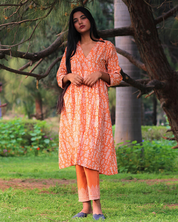 Orange Handprinted Pure Cotton Kurti Set of 2 - Slow