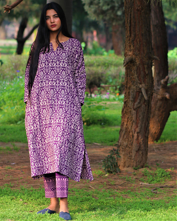 Purple Handprinted Pure Cotton Kurti Set of 2 - Slow