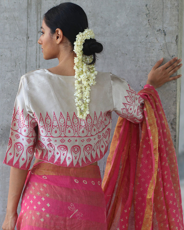 CREAM PINK BLOCKPRINTED MASHRU BLOUSE - MANJARI