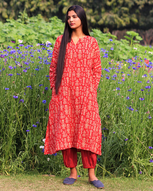 Red Handprinted Pure Cotton Kurti Set of 2 - Slow
