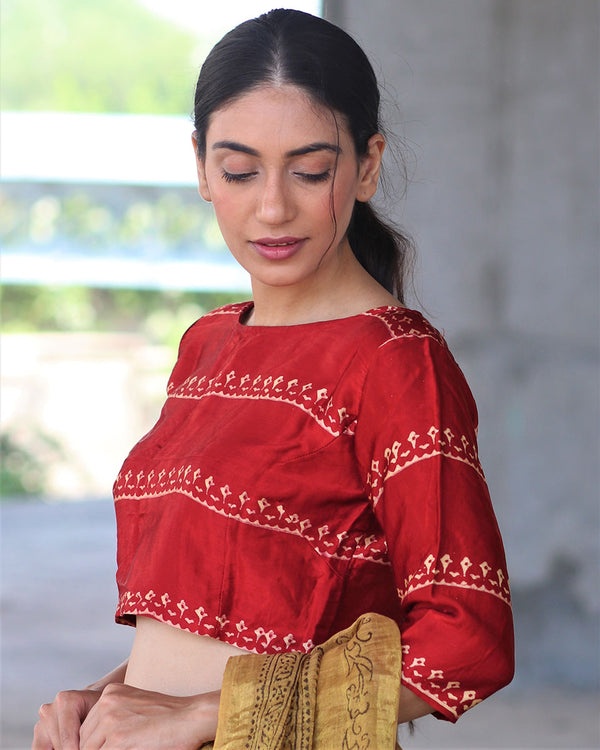 RED BLOCK PRINTED CROP TOP BLOUSE IN MASHRU SILK