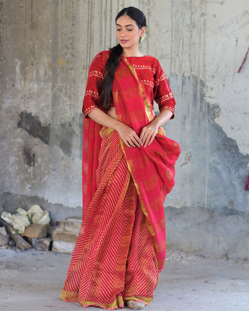 Red Block printed Pure Handwoven Linen Zari Saree - Manjari