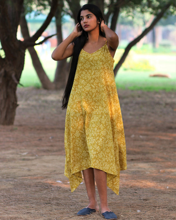 Yellow handkerchief Handprinted Pure Cotton Dress - Slow