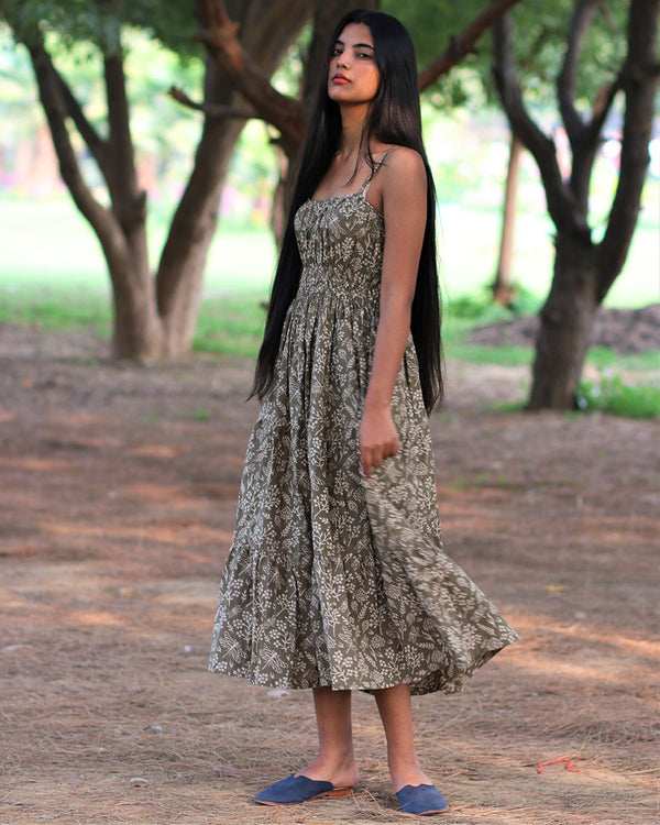 Olive Handprinted Pure Cotton Dress - Slow
