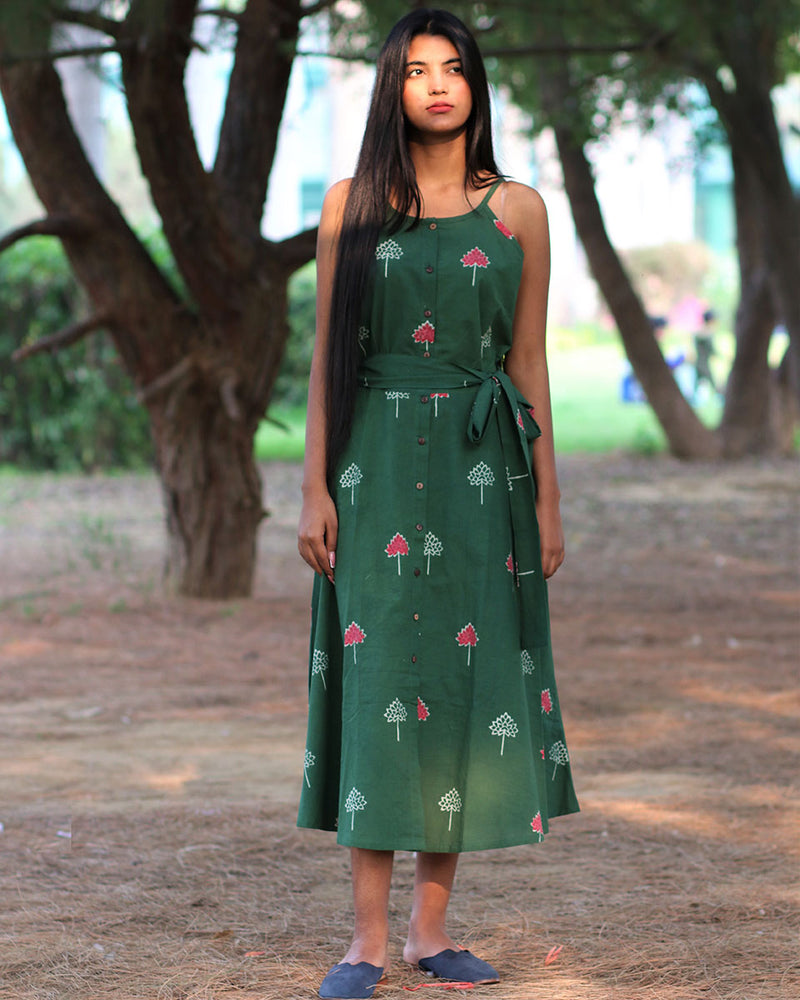 Green Handprinted Pure Cotton Dress - Slow