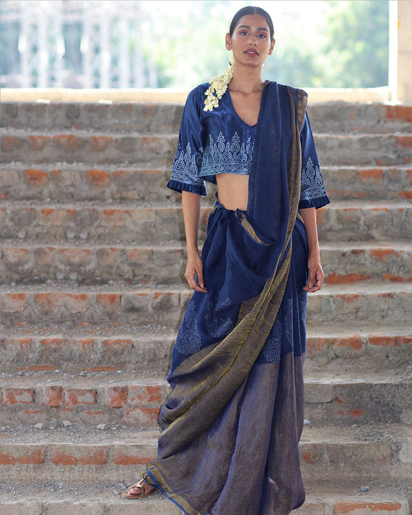 Blue Block printed Pure Handwoven Linen Zari Saree - Manjari