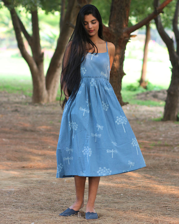 Sky Blue Handprinted Pure Cotton Dress - Slow