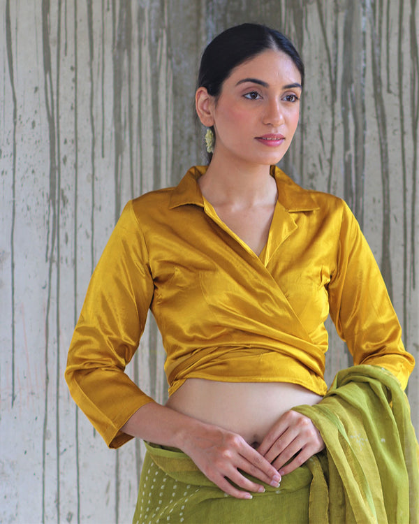 YELLOW TIEUP MASHRU BLOUSE- MANJARI
