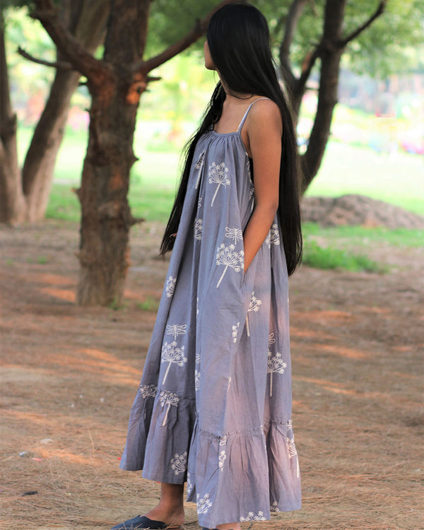 Grey Handprinted Pure Cotton Dress - Slow