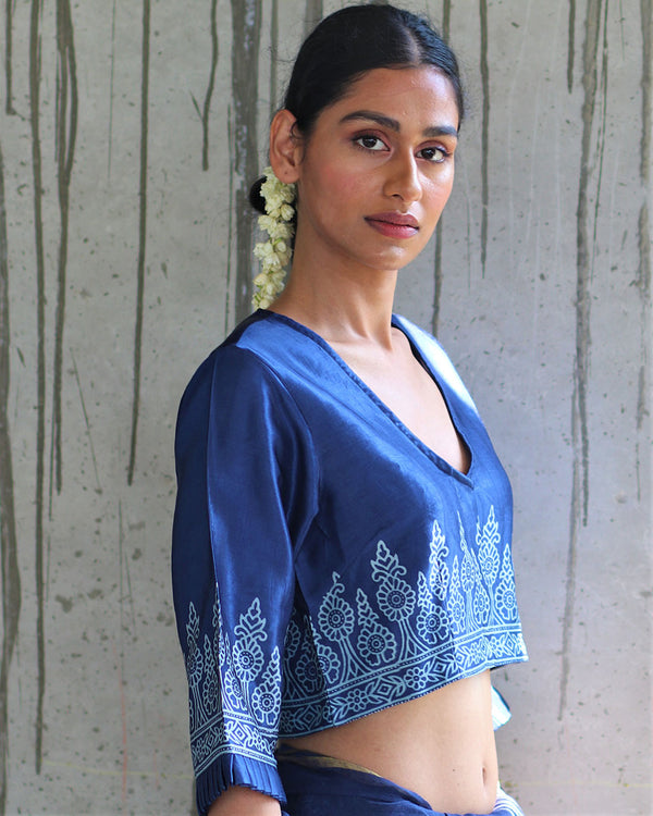 BLUE MASHRU BLOCKPRINTED BLOUSE - MANJARI