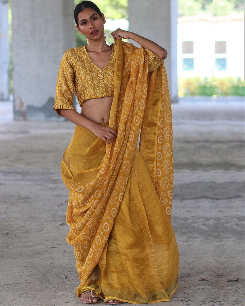 Yellow Block printed Pure Handwoven Linen Zari Saree - Manjari
