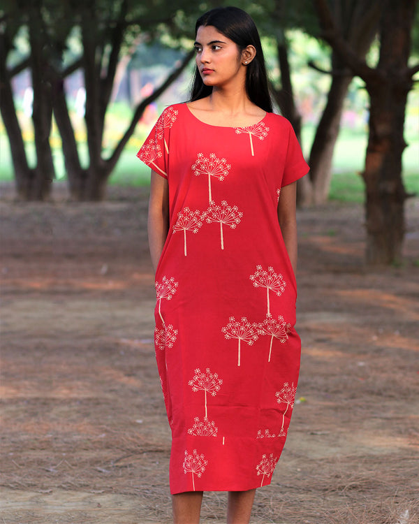 Red Handprinted Pure Cotton Dress - Slow