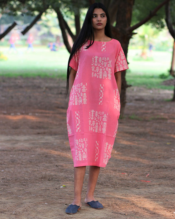 Pink Handprinted Pure Cotton Dress - Slow
