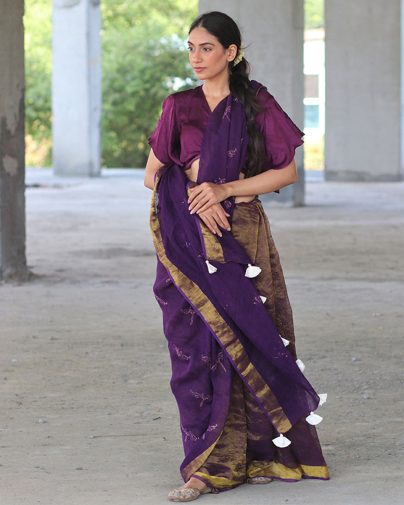 Purple Block printed Pure Handwoven Linen Zari Saree - Manjari