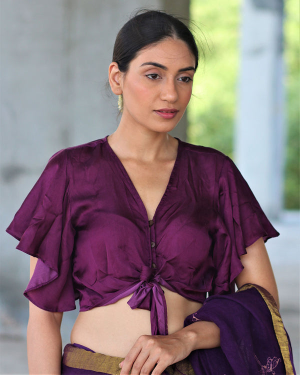 PURPLE TIEUP MODAL SILK BLOUSE- MANJARI