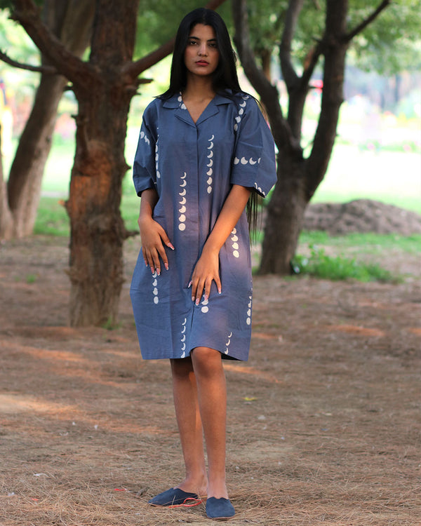 Blue Moon Handprinted Pure Cotton Dress - Slow