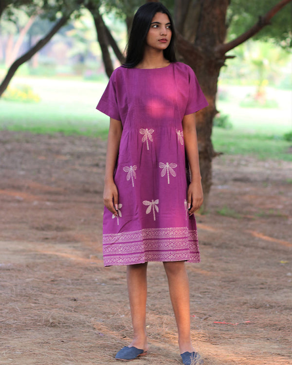 Purple Dragonfly Pintuk Handprinted Pure Cotton Dress - Slow