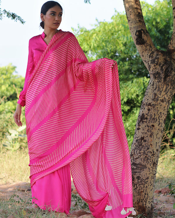 Pink BlockPrinted Modal Silk Saree - Rang