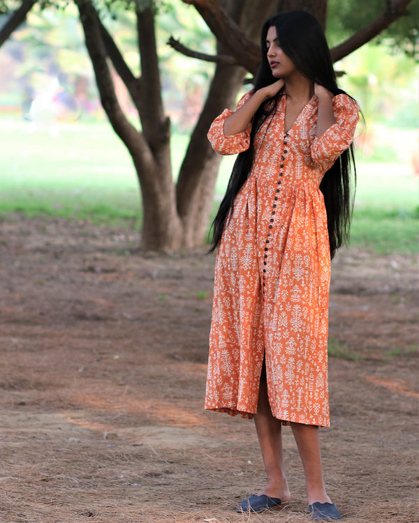 Orange Handprinted Pure Cotton Dress - Slow