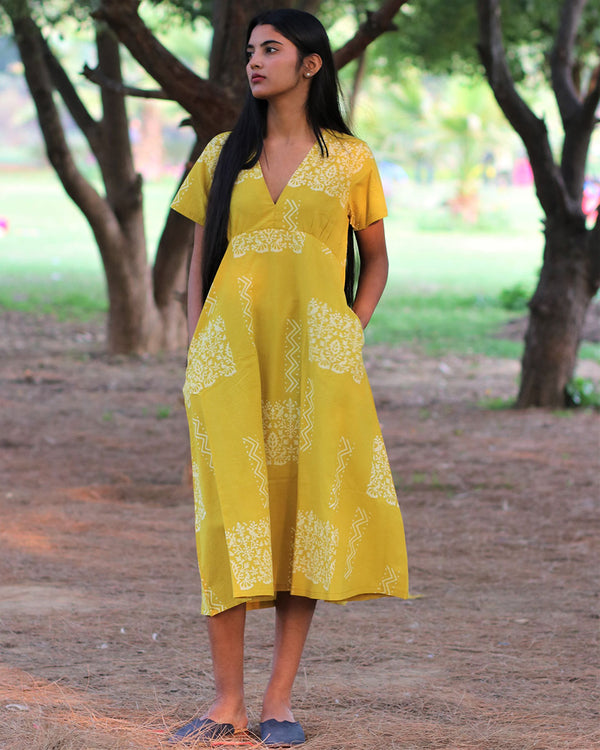 Yellow Handprinted Pure Cotton Dress - Slow