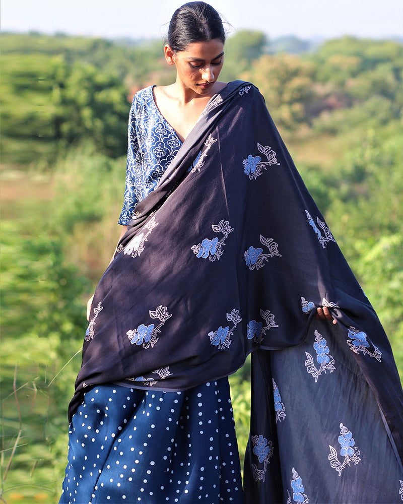 Blue-Grey BlockPrinted Modal Silk Saree - Rang