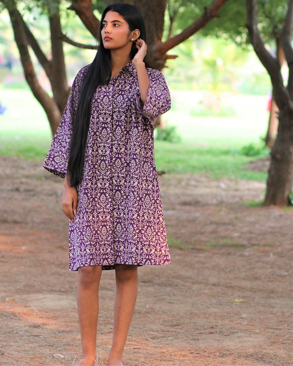 Purple Jal Handprinted Pure Cotton Dress - Slow