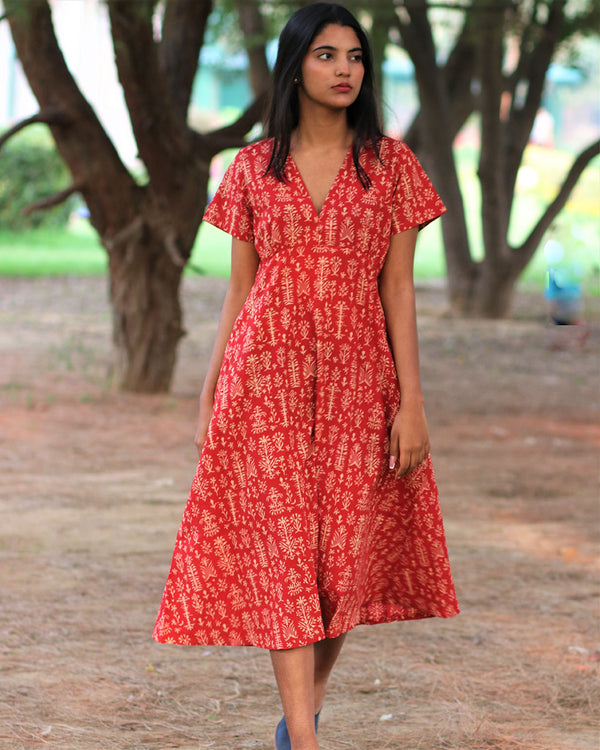 Red Jal Handprinted Pure Cotton Dress - Slow