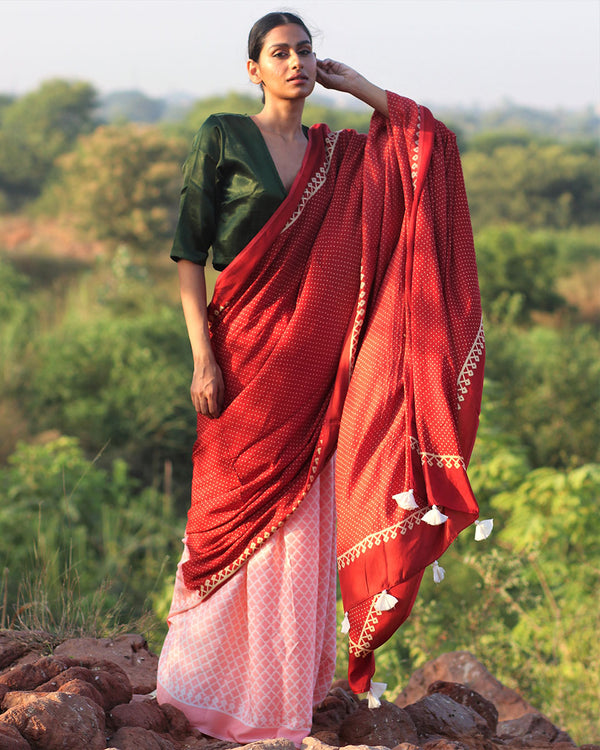 Red Pink BlockPrinted Modal Silk Saree - Rang