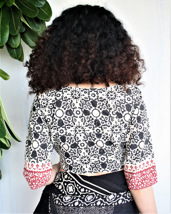 IVORY BLACK BLOCKPRINTED COTTON CROP TOP BLOUSE
