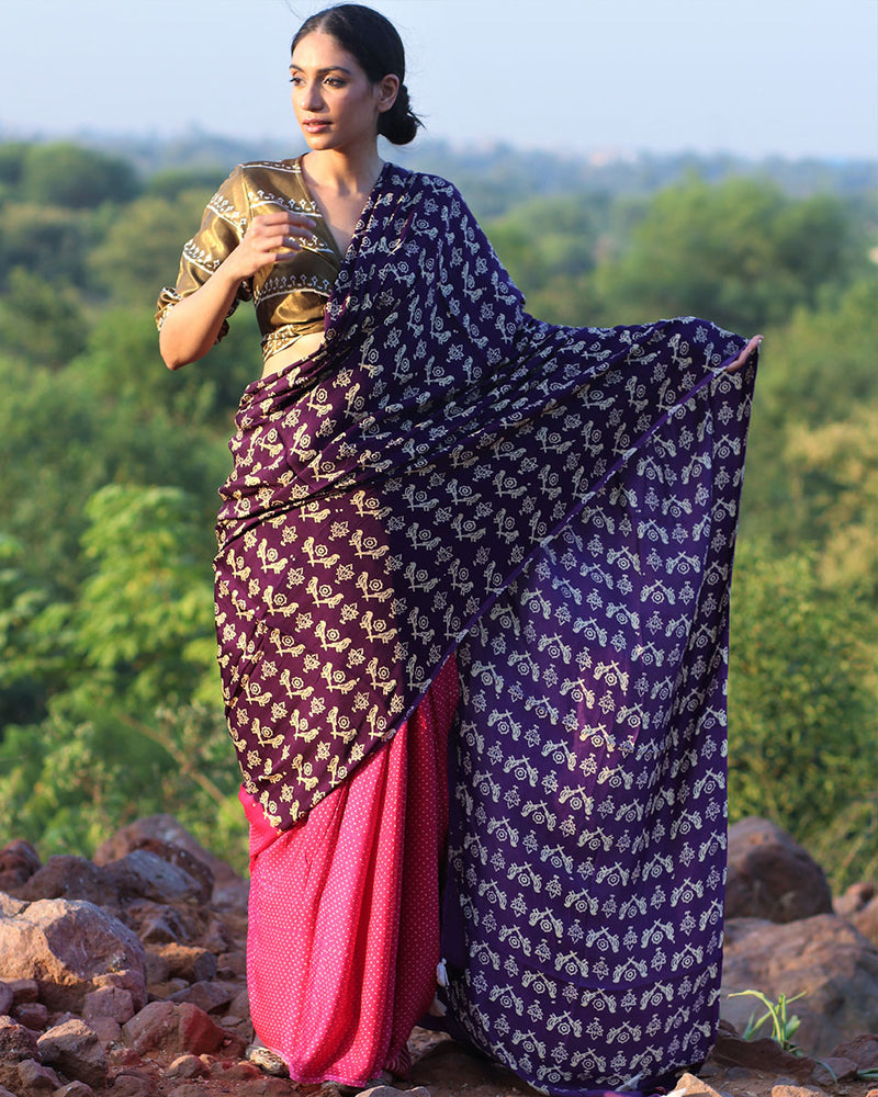 Purple pink BlockPrinted Modal Silk Saree - Rang