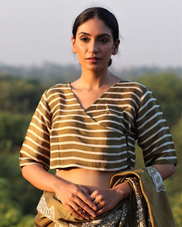 OLIVE BLOCKPRINTED MODAL SILK BLOUSE - MANJARI