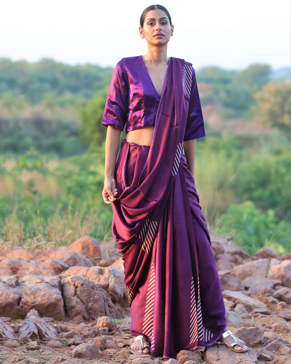 Purple BlockPrinted Modal Silk Saree - Rang