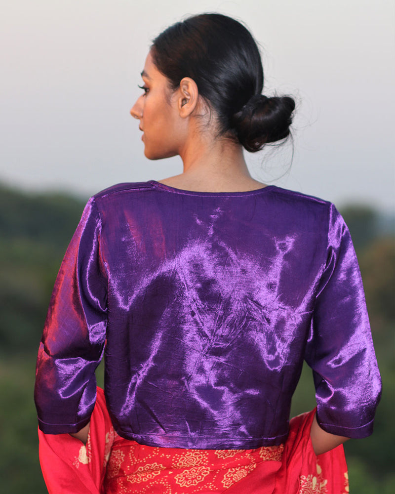 PURPLE MASHRU BLOUSE - MANJARI