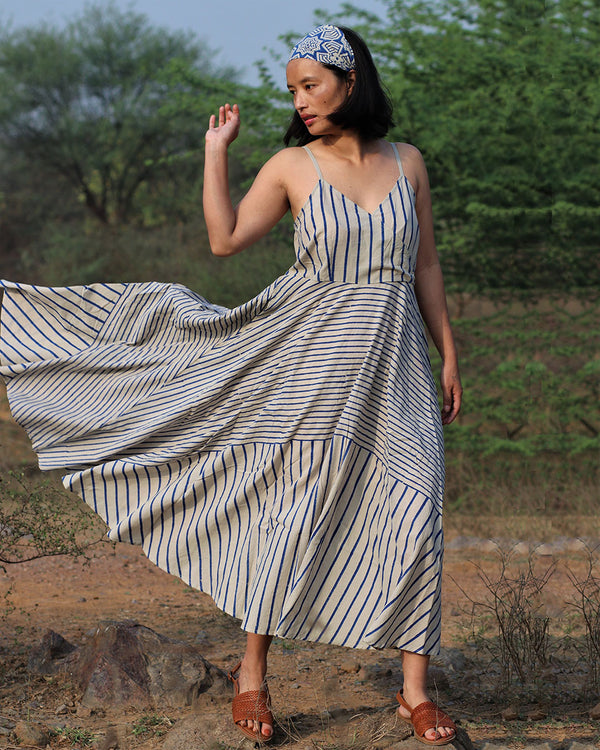 Beige blue blockprinted stripe dress