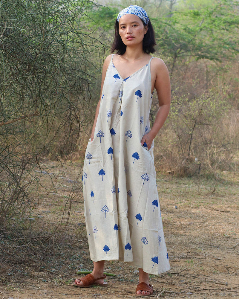 Beige blue blockprinted lotus dress