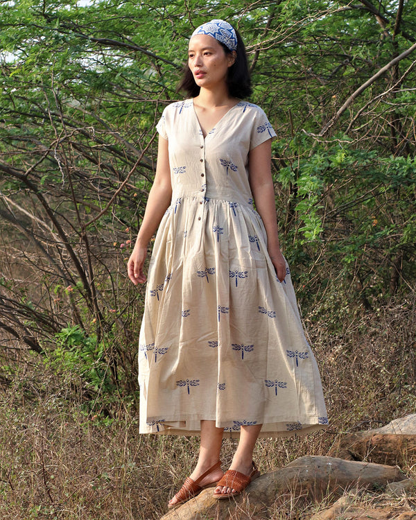 Beige blue blockprinted dragonfly dress