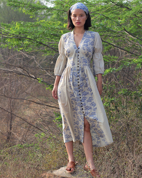 Beige blue blockprinted bel dress